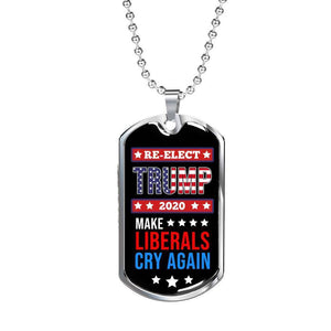 Express Your Love Gifts Re-Elect Trump Election Dog Tag Pendant Necklace Military Chain (Silver) / No