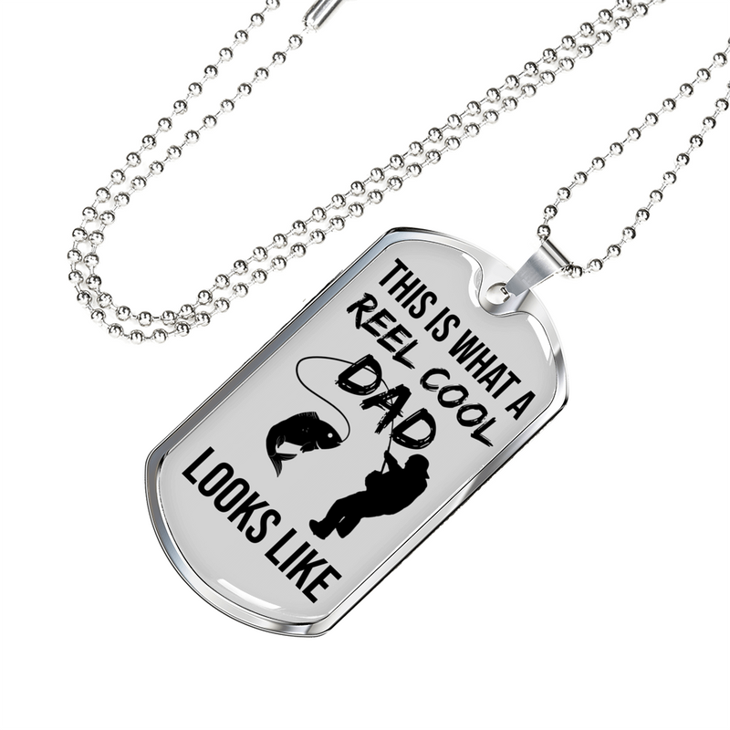 "Reel Cool Dad Dog Tag Gifts for Dad Father Necklace Stainless Steel or 18k Gold Dog Tag w 24"" Chain - Express Your Love Gifts"