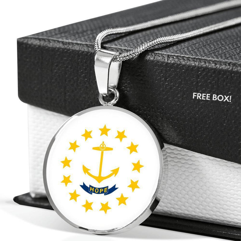 "Rhode Island State Flag Necklace Stainless Steel or 18k Gold Circle Pendant 18-22"" - Express Your Love Gifts"
