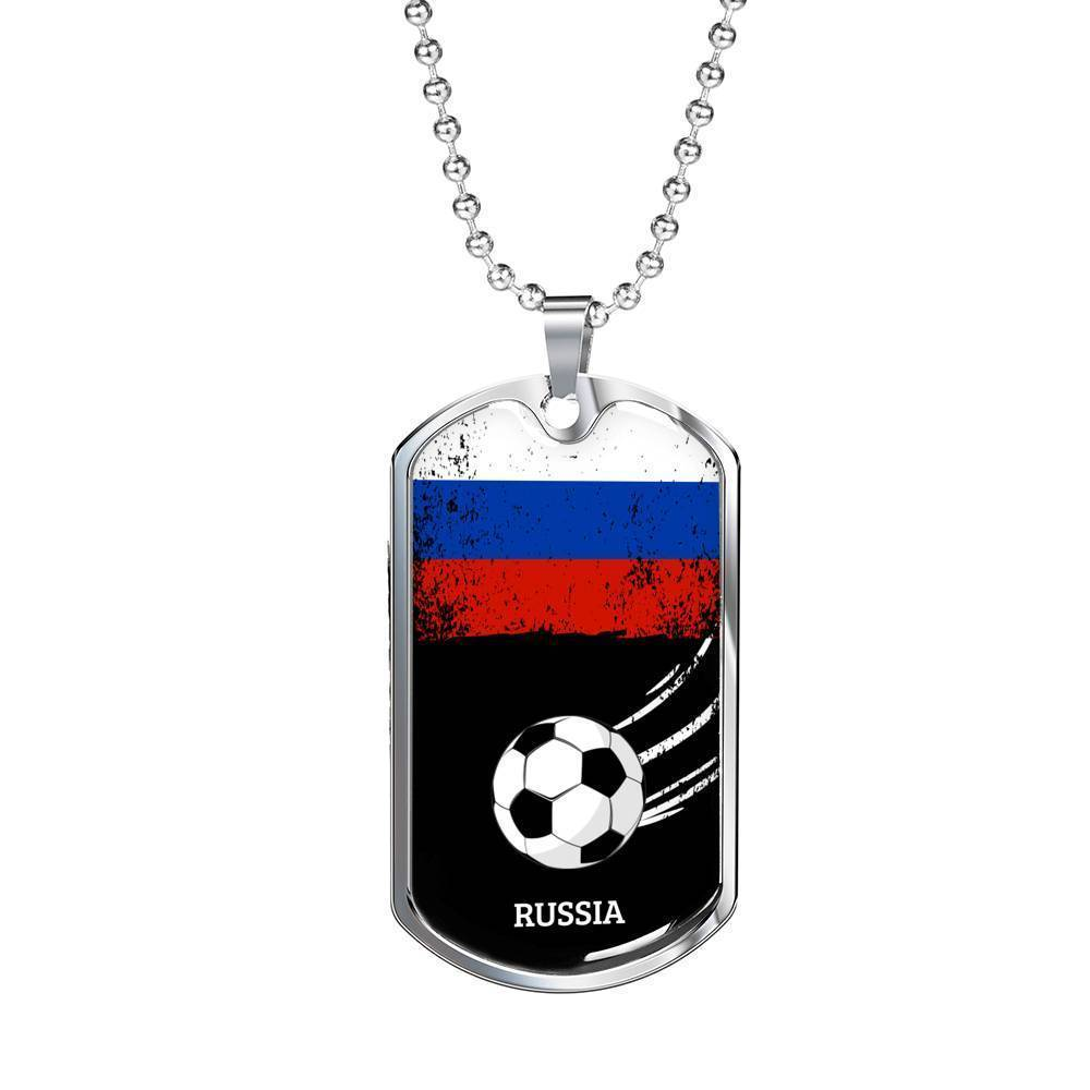 Express Your Love Gifts Russia Flag and Futbol/Soccer Dog Tag Pendant Necklace