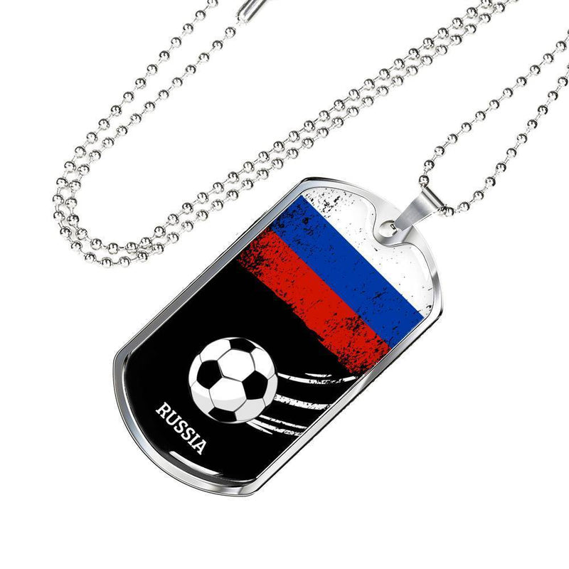 "Russia Flag and Futbol/Soccer Necklace Stainless Steel or 18k Gold Dog Tag w 24"" Chain - Express Your Love Gifts"