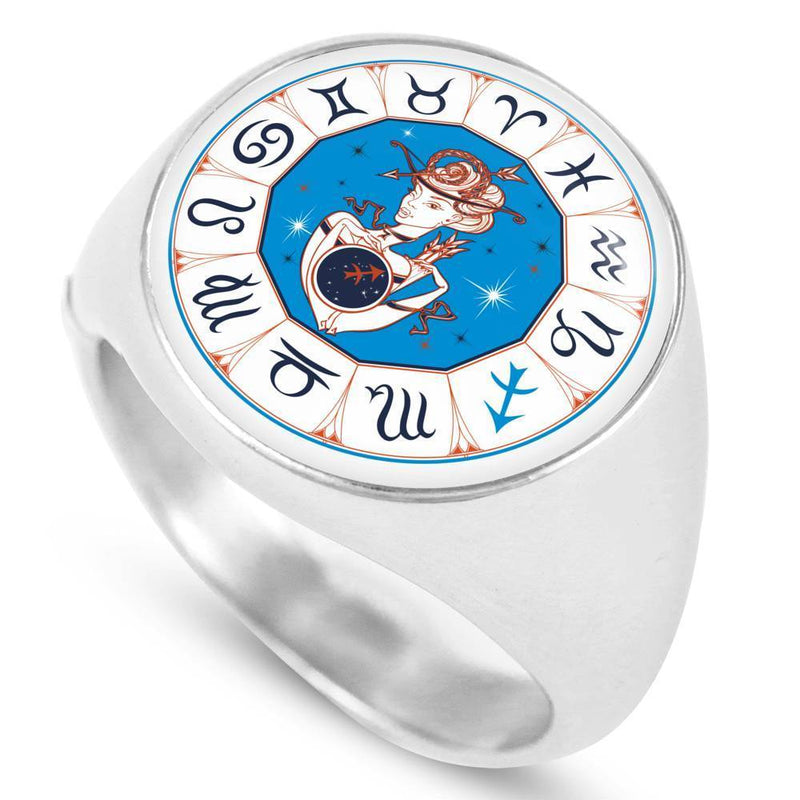 Sagittarius Zodiac Sign Circle Signet Ring - Express Your Love Gifts