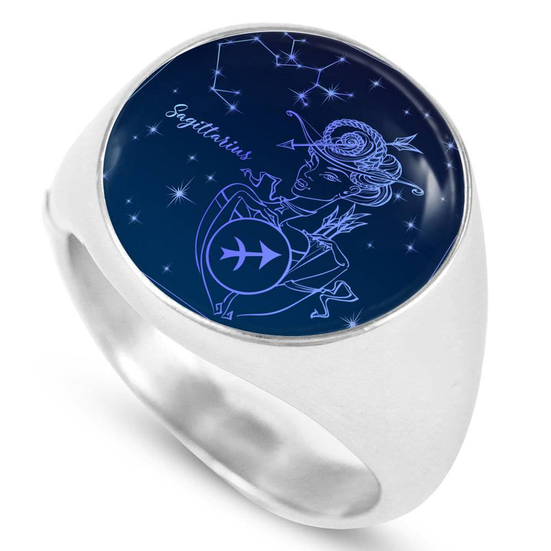 Sagittarius Ring Zodiac Sign Blue Night Circle Signet Ring - Express Your Love Gifts