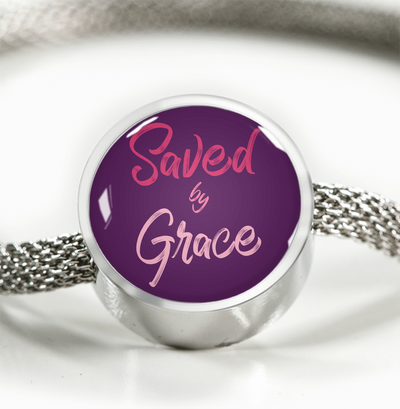 Express Your Love Gifts Saved By Grace Faith Gear Jewelry Ephesians Circular Charm Bracelet M/L Bracelet & Charm