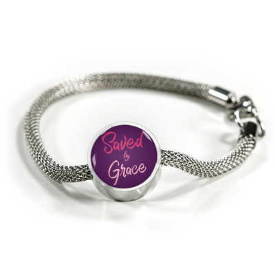 Express Your Love Gifts Saved By Grace Faith Gear Jewelry Ephesians Circular Charm Bracelet S/M Bracelet & Charm