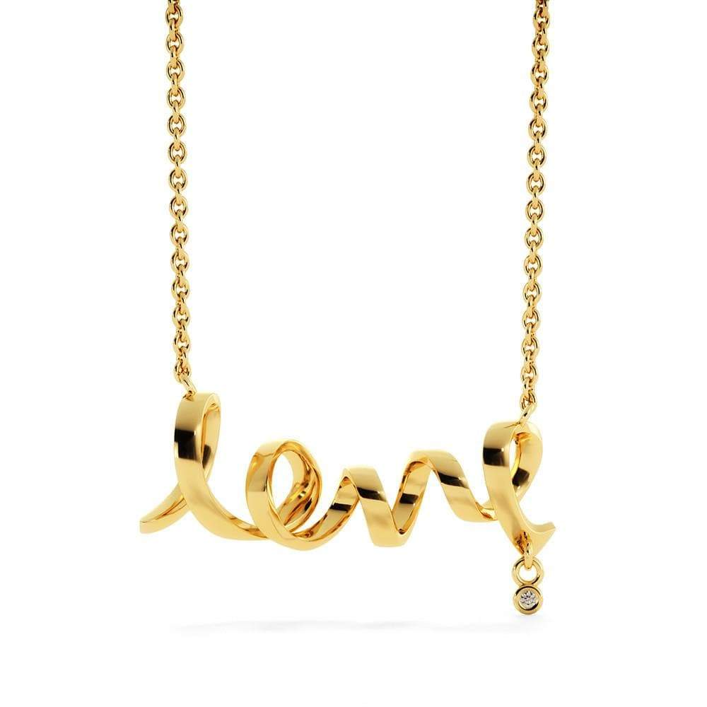 "Scripted Love Necklace Stainless Steel  16-22"" Adjustable Cable Chain Express Your Love Gifts"