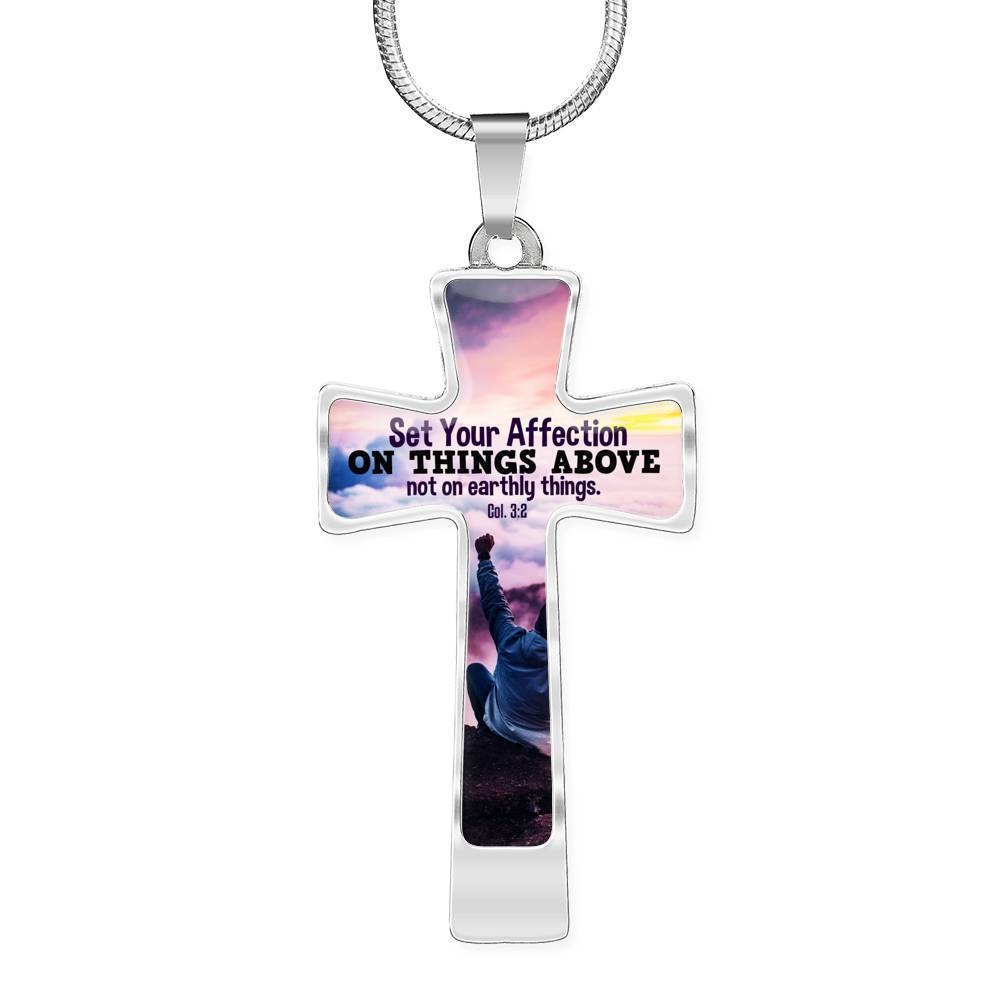 Express Your Love Gifts Set Your Affection on Things Above -  Colossians 3:2 Bible Verse Cross Pendant Necklace