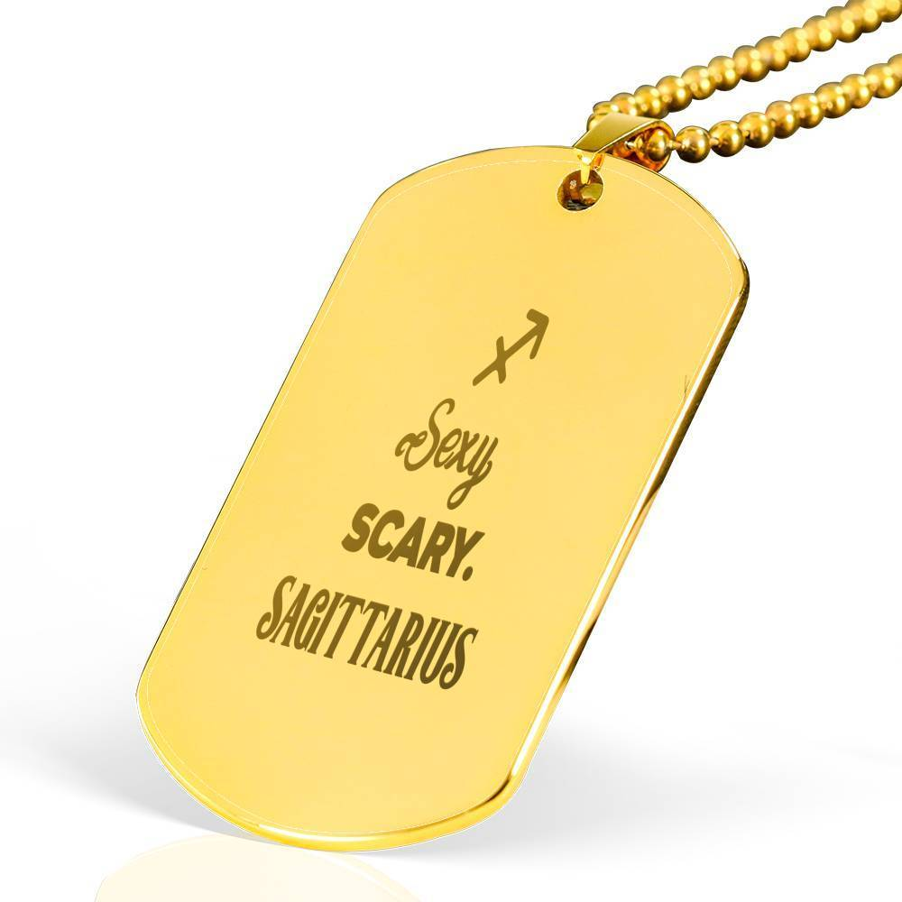 "Sexy Scary Sagittarius Pendant Necklace 18k Gold Stainless Steel  Military Dog Tag w 24"" Ball Chain Express Your Love Gifts"