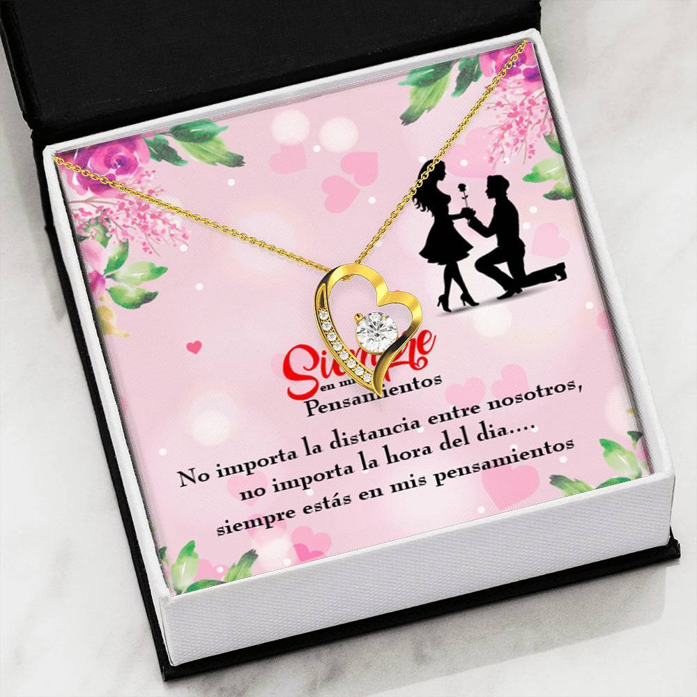 "Siempre en mis Pensamientos CZ Love Heart Pendant 18k Gold or Stainless Steel 18"" Necklace - Express Your Love Gifts"