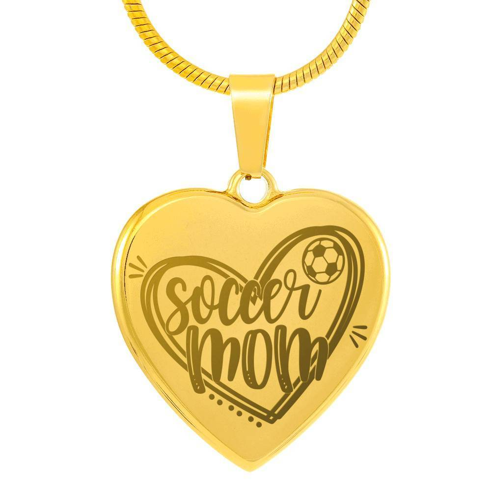 "Soccer Mom Necklace Stainless Steel 18k Gold Finish Heart Pendant Necklace Adjustable 18""-22"" Express Your Love Gifts"