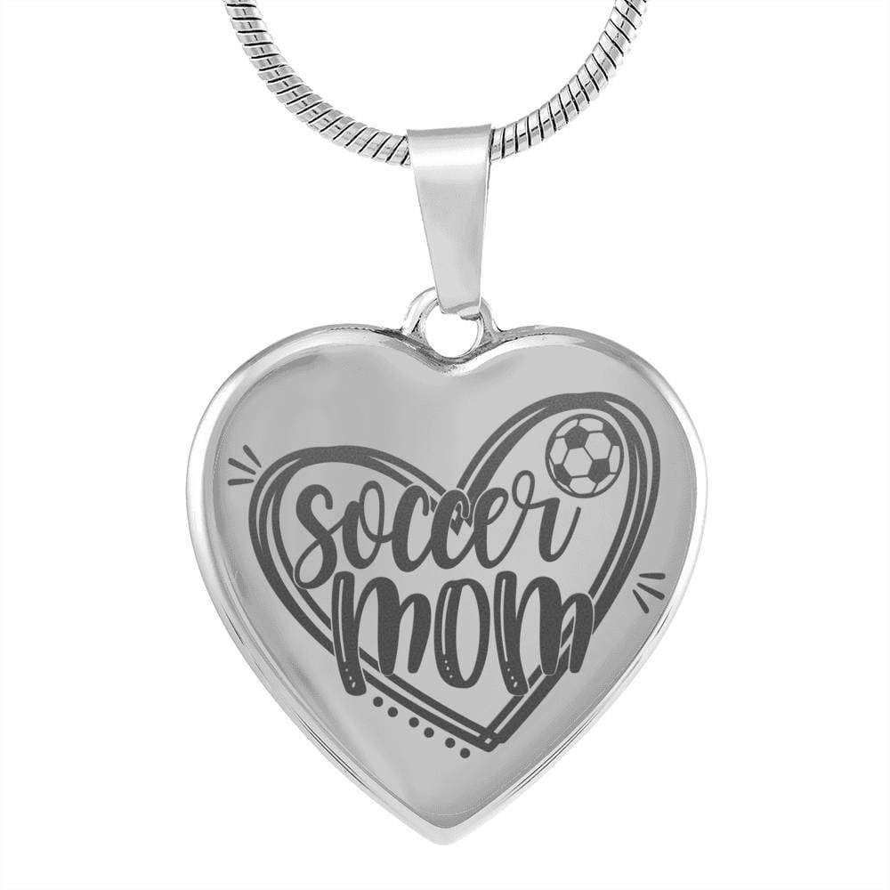 "Soccer Mom Necklace Stainless Steel Heart Pendant Necklace Adjustable 18""-22"" Express Your Love Gifts"