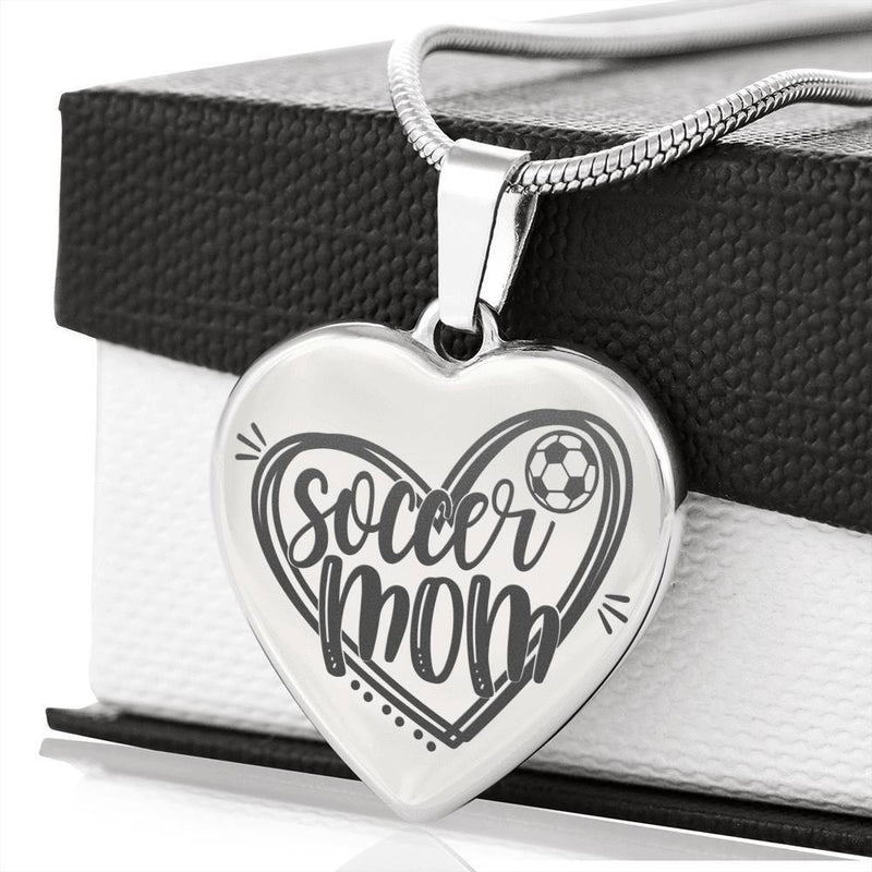 "Soccer Mom Necklace Stainless Steel Heart Pendant Necklace 18""22"" - Express Your Love Gifts"