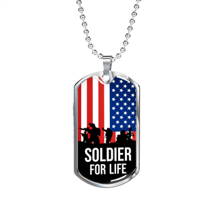 Express Your Love Gifts Soldier For Life Dog Tag Pendant Necklace