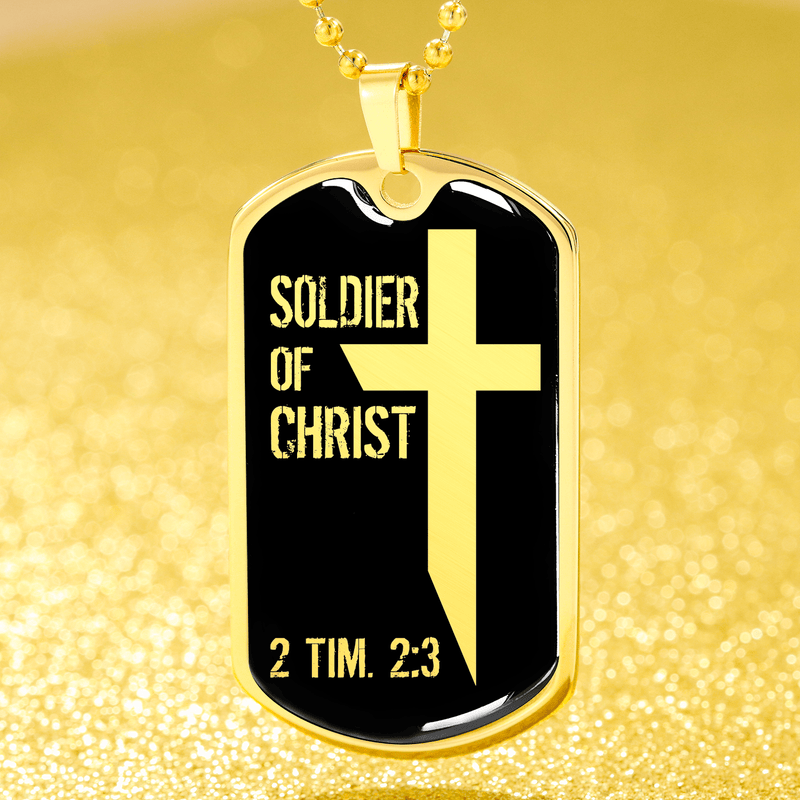 "Soldier Of Christ Dog Tag Stainless Steel or 18k Gold Finish 24"" Ball Chain Express Your Love Gifts"