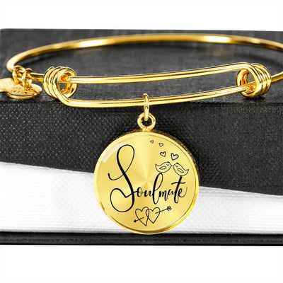 Express Your Love Gifts Soulmate Circle Bangle Bracelet Circle Pendant Gold Bangle