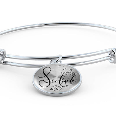 Express Your Love Gifts Soulmate Circle Bangle Bracelet Luxury Bangle (Silver)