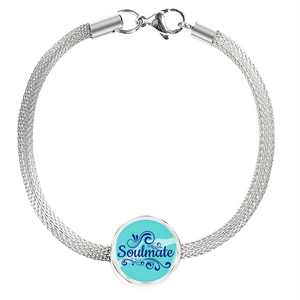 Express Your Love Gifts Soulmate-Handmade Stainless Steel- Circular Charm Bracelet