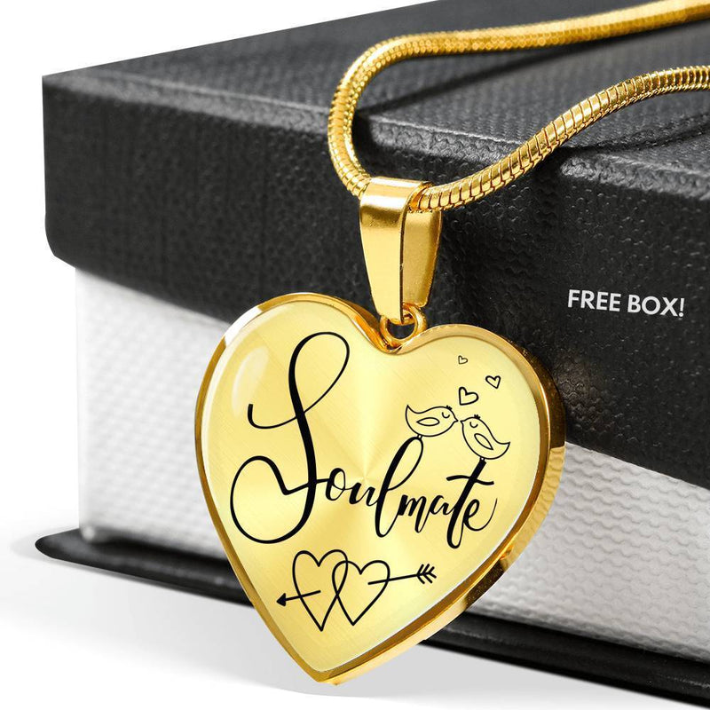 Express Your Love Gifts Soulmate Heart Pendant Forever Together Necklace Luxury Necklace (Gold) / No