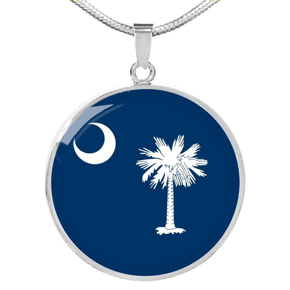 "South Carolina State Flag Necklace Stainless Steel or 18k Gold Circle Pendant 18-22"" - Express Your Love Gifts"