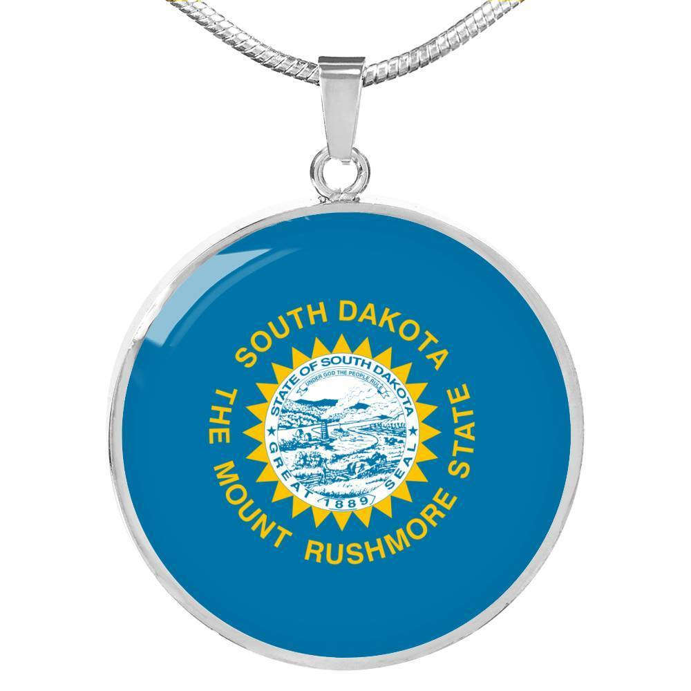 "South Dakota State Flag Necklace Stainless Steel or 18k Gold Circle Pendant 18-22"" - Express Your Love Gifts"