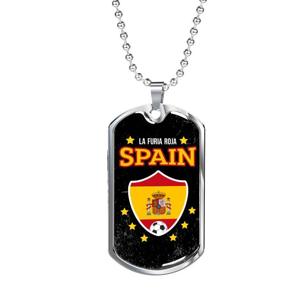 "Spain Flag and Futbol/Soccer Necklace Stainless Steel or 18k Gold Dog Tag w 24"" Chain - Express Your Love Gifts"
