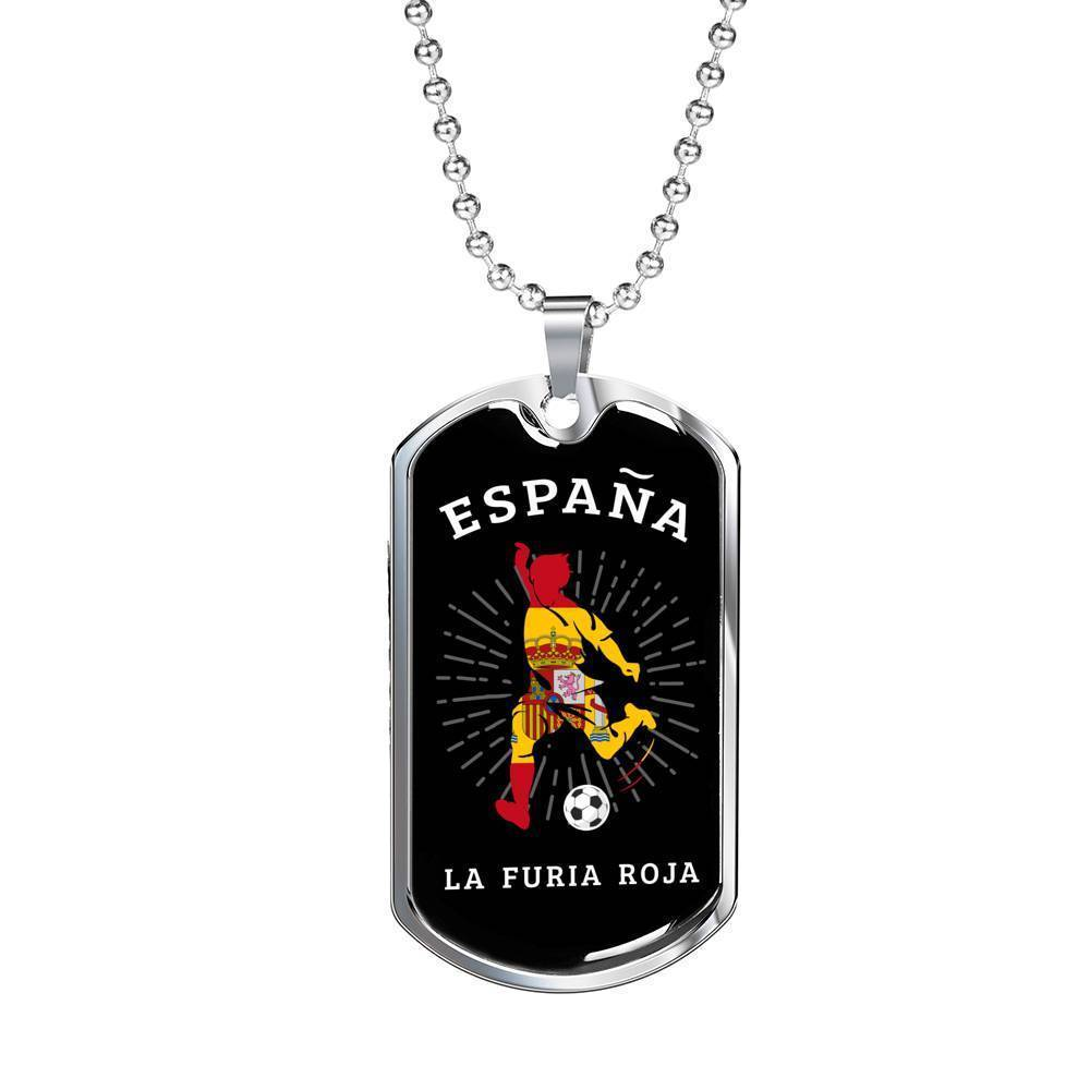 "Spain Flag & Futbol/Soccer Necklace Stainless Steel or 18k Gold Dog Tag w 24"" Chain - Express Your Love Gifts"