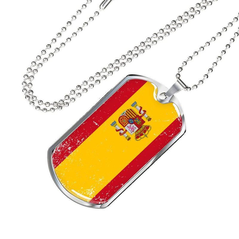 "Express Your Love Gifts Spain Flag Love My Country Stainless Steel Pendant Pendant Stainless Steel or 18k Gold Military Dog Tag Necklace w 24"" Ball Chain Military Chain (Silver) / No"