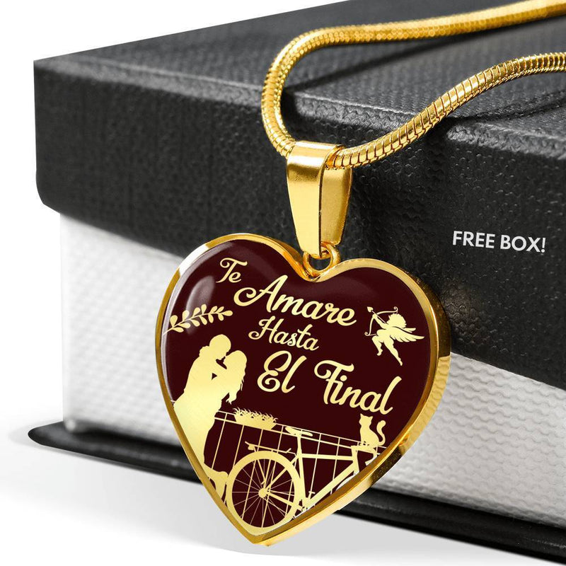 Express Your Love Gifts Spanish I Love you Till The End Necklace-Te Amare Hasta El Final Heart Pendant