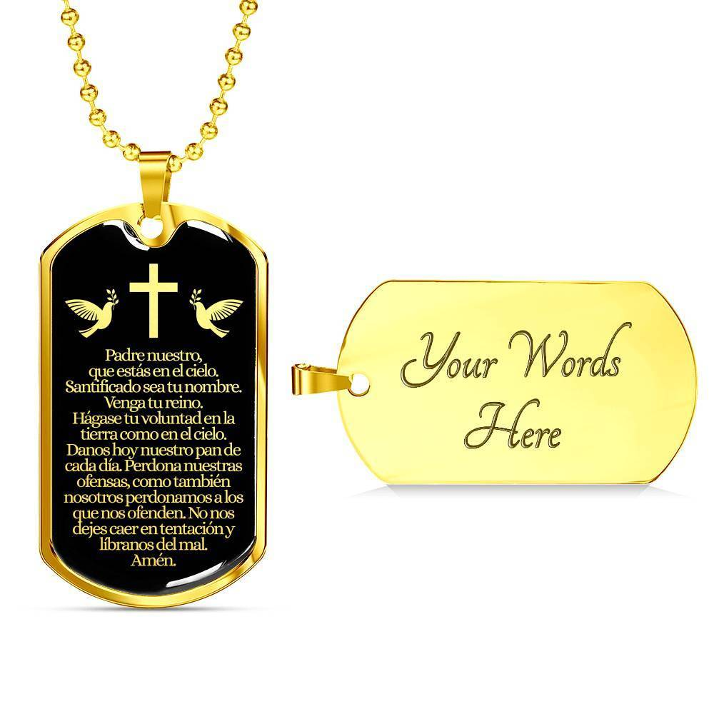 Express Your Love Gifts Spanish Lord's Prayer Our Father in Spanish Engravable Pendant Military Chain (Gold) / Yes
