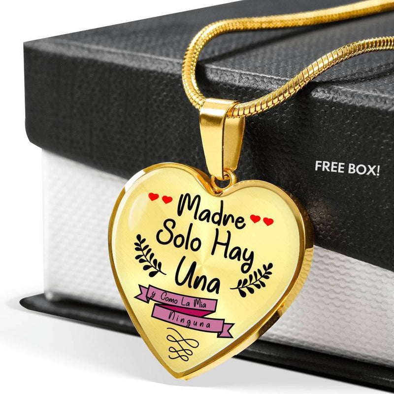 Express Your Love Gifts Spanish Mom Gift Heart Necklace Pendant Madre Solo Hay Una y Como La Mía Ninguna Luxury Necklace (Silver) / Yes