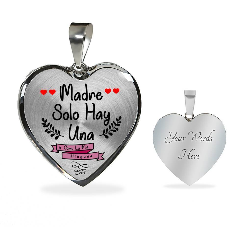 "Spanish Mom Gift Madre Solo Hay Una y Como La Mía Ninguna Stainless Steel Or 18k Gold Heart Pendant Necklace 18""22"" - Express Your Love Gifts"