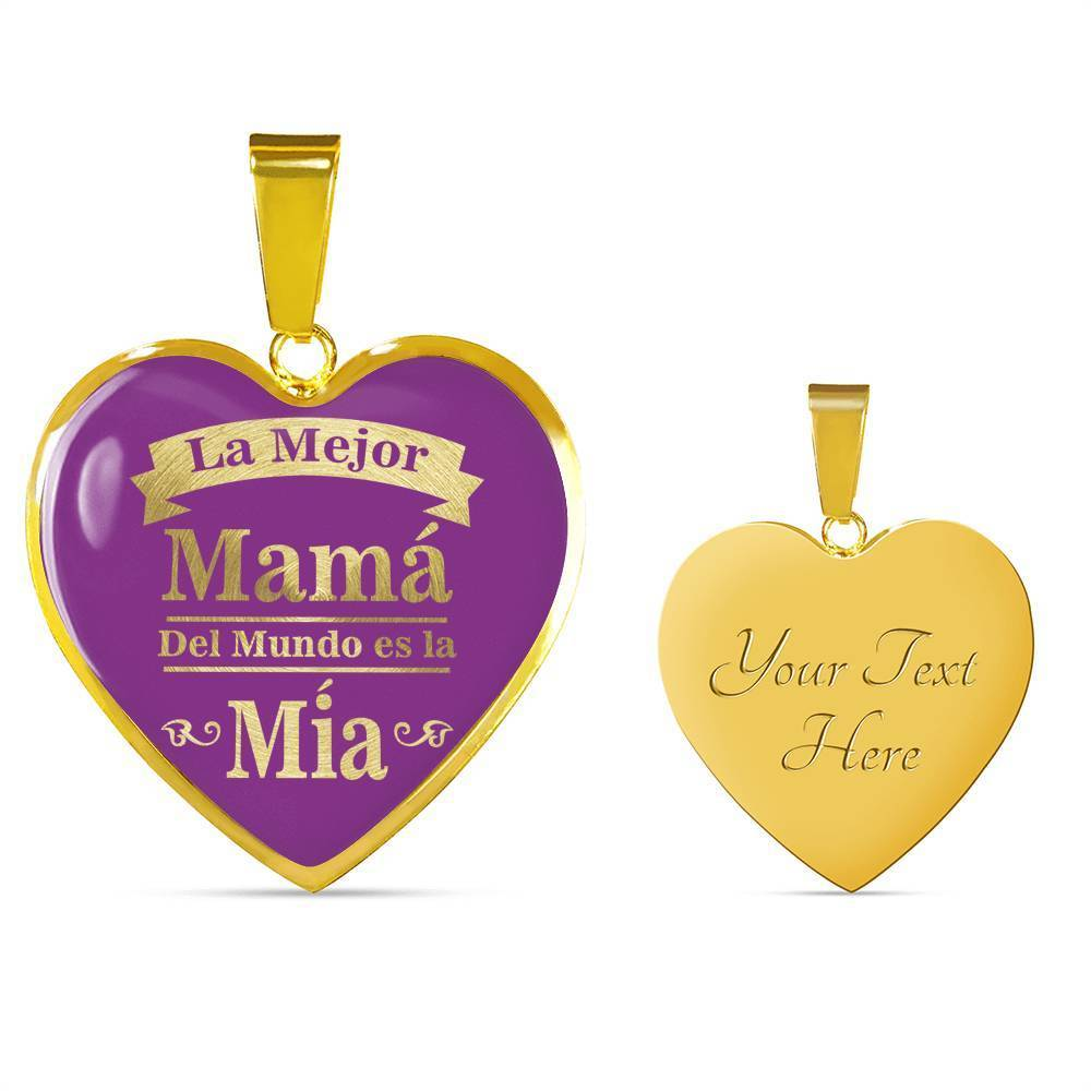 Express Your Love Gifts Spanish Mom Gift La Mejor Mamá Del Mundo Es La Mía Heart Pendant Necklace Luxury Necklace (Gold) / Yes