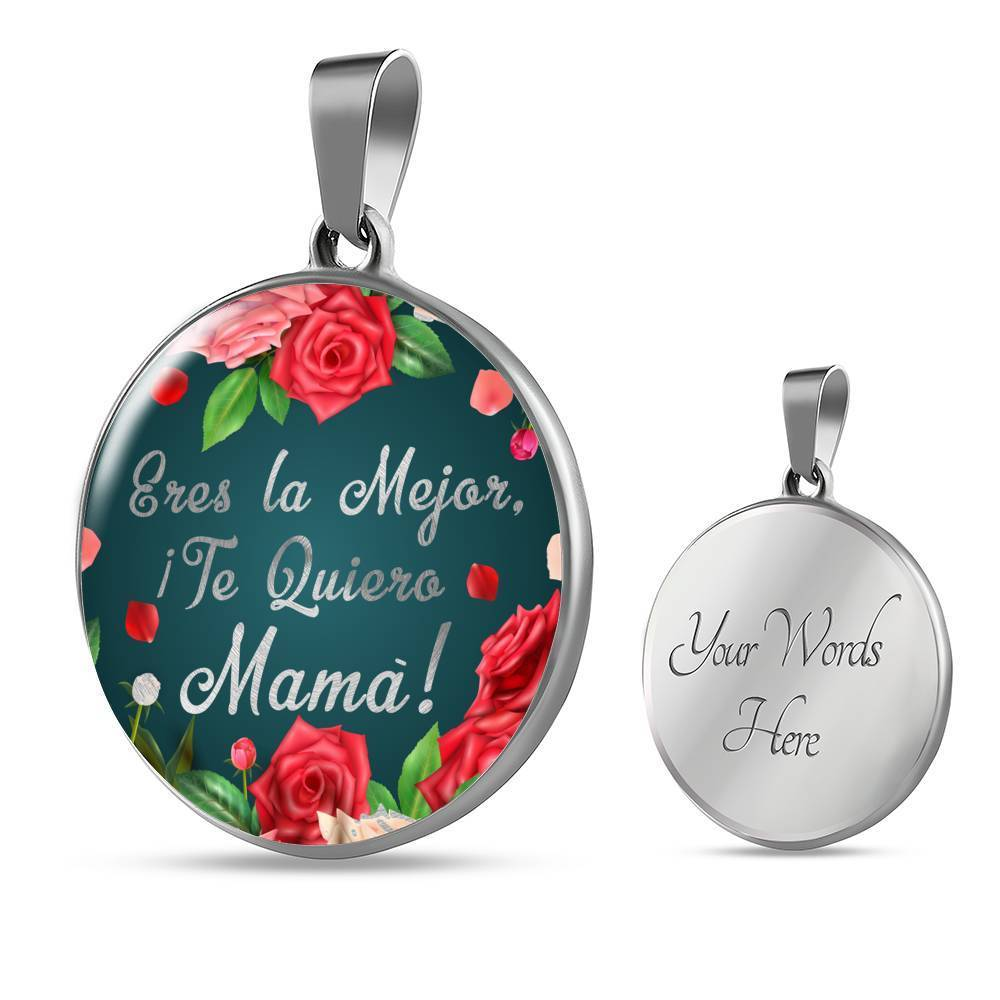 Express Your Love Gifts Spanish Mom Gift You're the Best I Love You Mom! Jewelry Gift Circle Necklace Pendant Luxury Necklace (Silver) / Yes