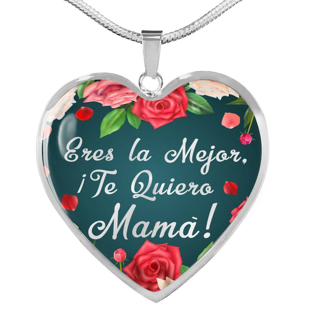 Express Your Love Gifts Spanish Mom Necklace You're the Best I Love You Mom! Jewelry Gift Heart Pendant
