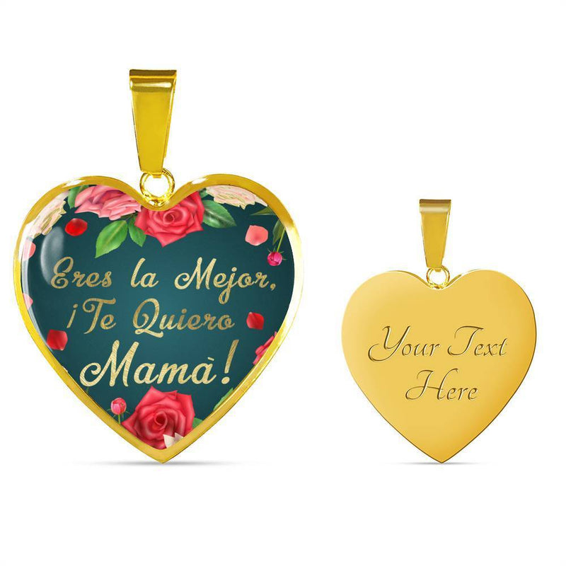 "Spanish Mom Jewelry Gift Stainless Steel Or 18k Gold Heart Pendant Necklace 18""22"" - Express Your Love Gifts"
