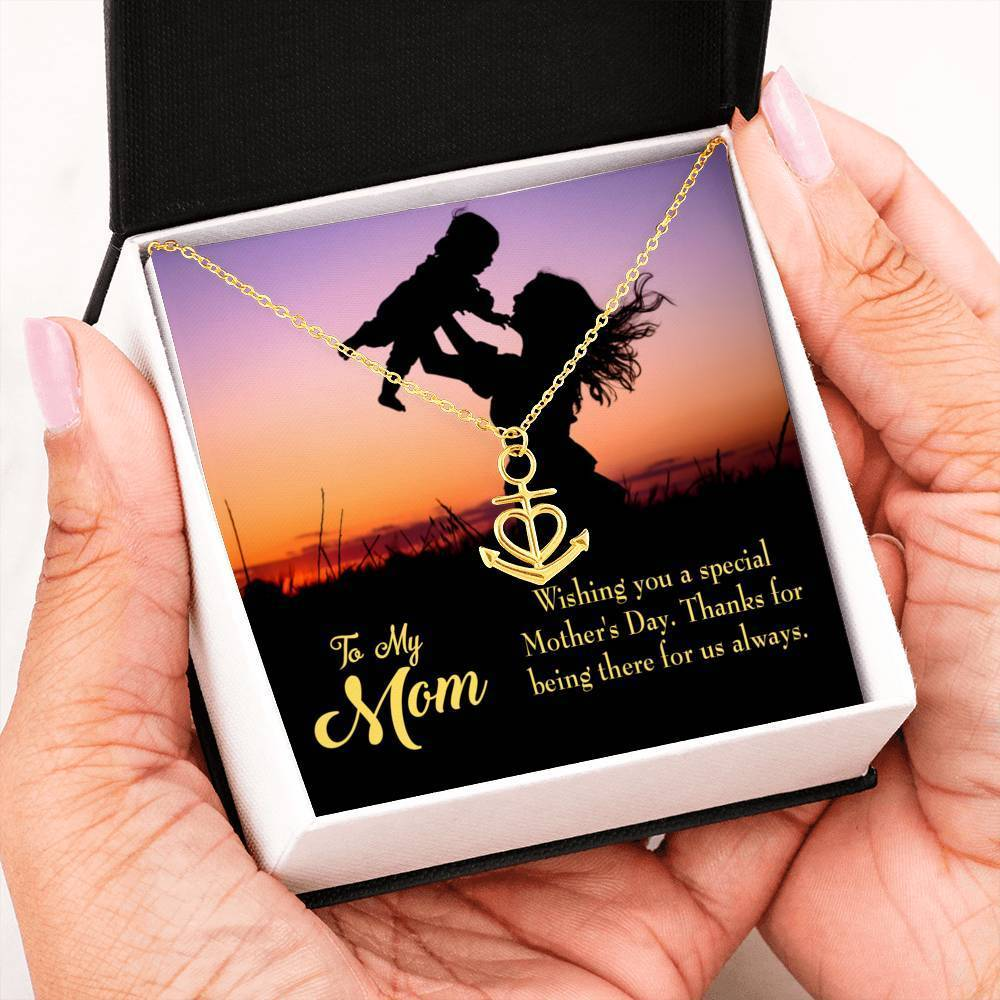 Special Mother's Day Anchor Pendant Stainless Steel, Mothers Day Birthday Jewelry Gift Express Your Love Gifts