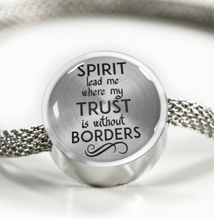 Express Your Love Gifts Spirit Lead Me Where My Trust is Without Borders Christian Faith Jewelry Circular Charm Bracelet M/L Bracelet & Charm