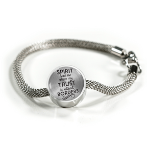 Express Your Love Gifts Spirit Lead Me Where My Trust is Without Borders Christian Faith Jewelry Circular Charm Bracelet S/M Bracelet & Charm