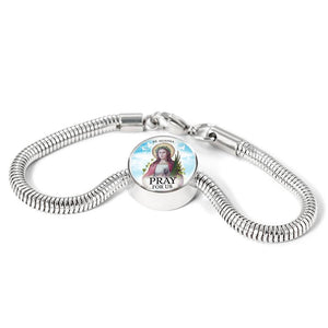 Express Your Love Gifts St. Agatha Catholic Jewelry Circular Charm Bracelet
