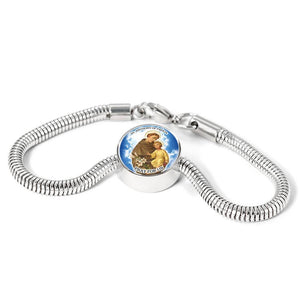 Express Your Love Gifts St. Anthony Catholic Jewelry Circular Charm Bracelet M/L Bracelet & Charm / No