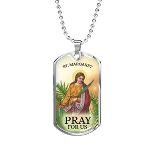 Express Your Love Gifts St. Margaret Catholic Dog Tag Pendant Necklace