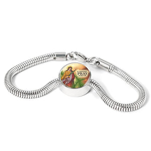 Express Your Love Gifts St. Margaret Catholic Jewelry Circular Charm Bracelet S/M Bracelet & Charm / No