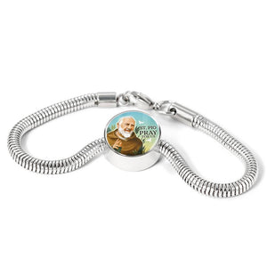 Express Your Love Gifts St. Pio Catholic Jewelry Circular Charm Bracelet