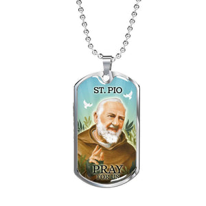Express Your Love Gifts St. Pio Catholic Jewelry Dog Tag Pendant Necklace