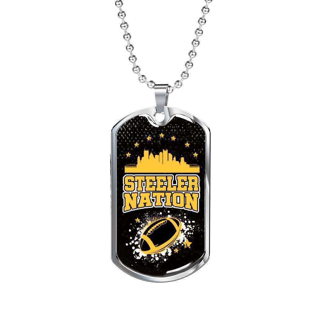 Express Your Love Gifts Steeler Nation Pittsburgh Fan Dog Tag Gift Military Chain (Silver) / No