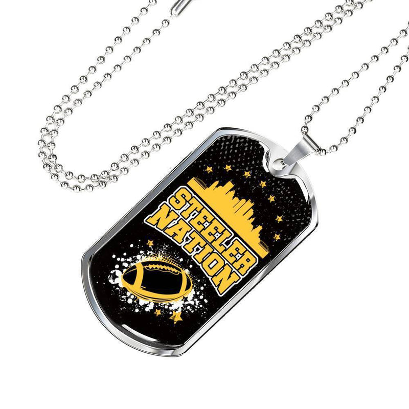 "Steeler Nation Pittsburgh Fan Necklace Stainless Steel or 18k Gold Dog Tag w 24"" Chain - Express Your Love Gifts"