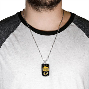 "Steeler Nation Pittsburgh Fan Necklace Stainless Steel or 18k Gold Military Dog Tag w 24"" Ball Chain Express Your Love Gifts"