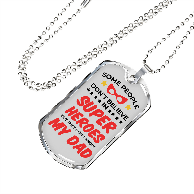 "Super Hero Dad Dog Tag Stainless Steel or 18k Gold Necklace w 24"" Chain - Express Your Love Gifts"