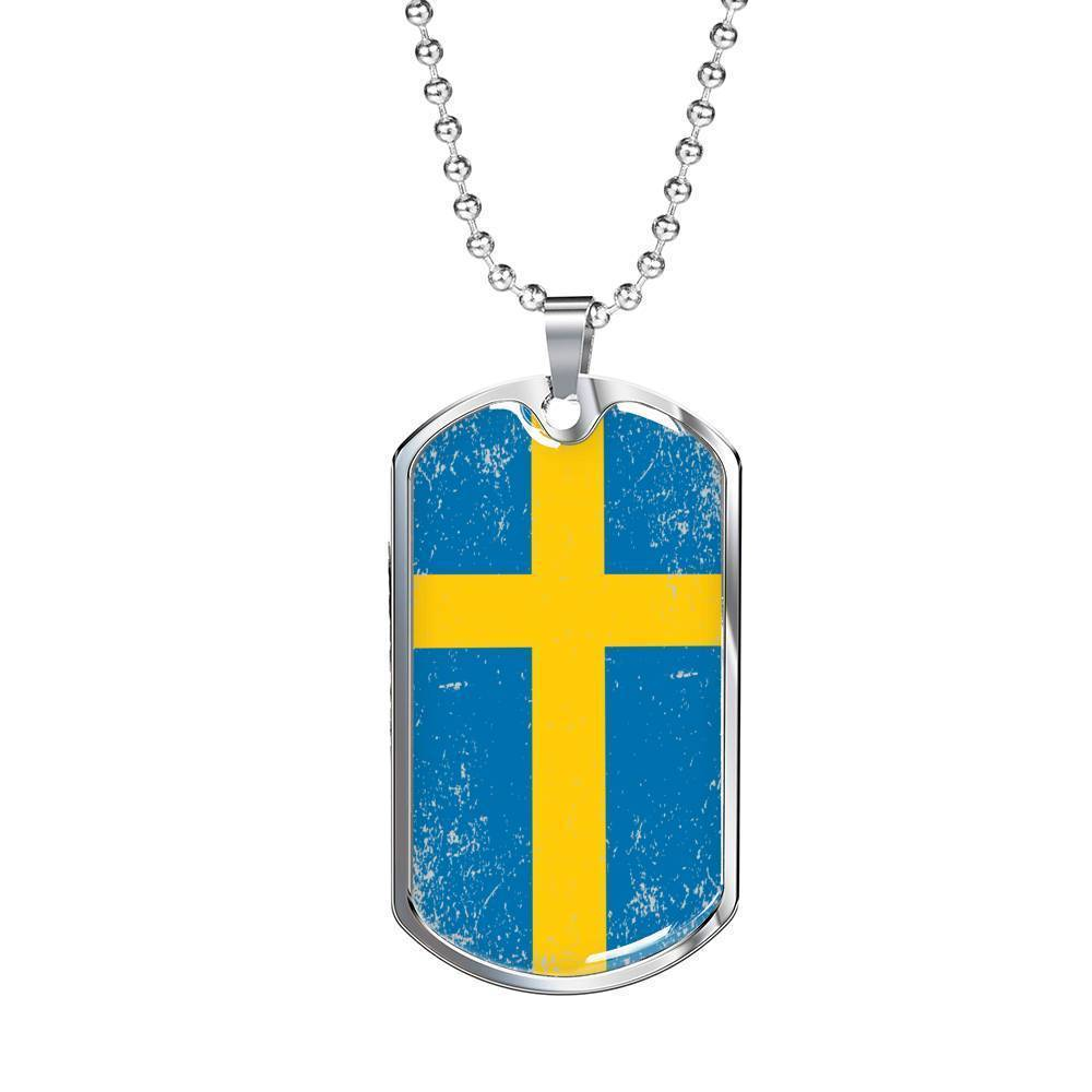 "Express Your Love Gifts Sweden Flag Love My Country Pendant Stainless Steel or 18k Gold Military Dog Tag Necklace w 24"" Ball Chain"