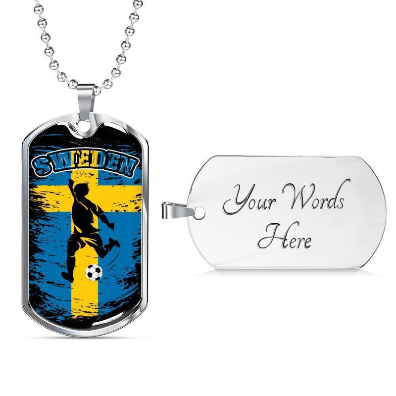 "Sweden Futbol/Soccer & Flag Necklace Stainless Steel or 18k Gold Dog Tag w 24"" Chain - Express Your Love Gifts"